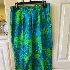 Satin jungle print dress pants